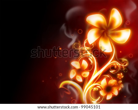 excellent fire flower on red background
