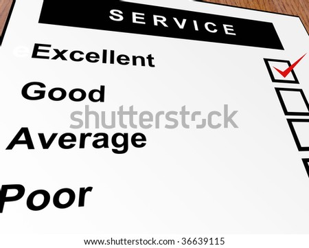Excellent, good, average and poor qualification. Service illustration