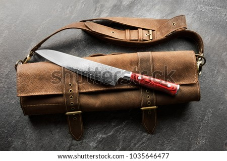 Excellent Japanese chef's knife from Damascus steel. View from above