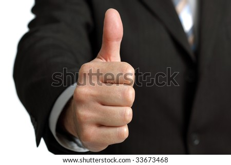 Excellent news - thumbs up gesturing satisfaction and approval