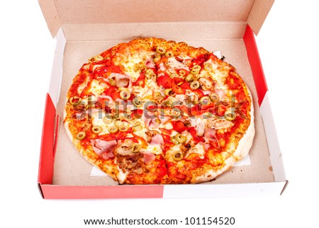 Excellent pizza in box with mozzarella, ham, pork, pickled peppers, olives isolated on white background