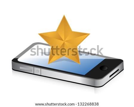 excellent rating display on a phone concept illustration design over white