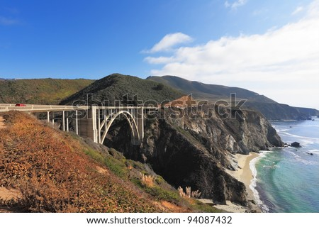 Excellent viaduct. Seaside highway on coast of Pacific ocean. California, the USA - stock photo