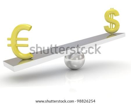Exchange rates Dollar vs Euro - stock photo