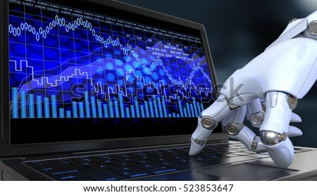 Exchange trade robot. Automated trading system is a computer trading program. 3D illustration