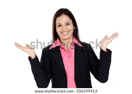Excited beautiful business woman against white background