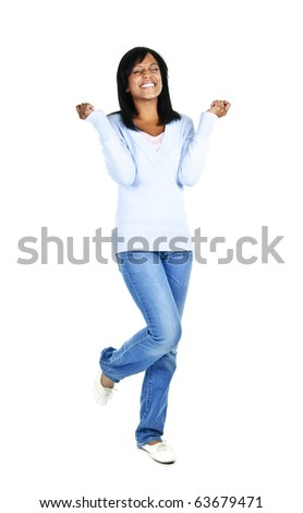 Excited black woman with eyes closed isolated on white background