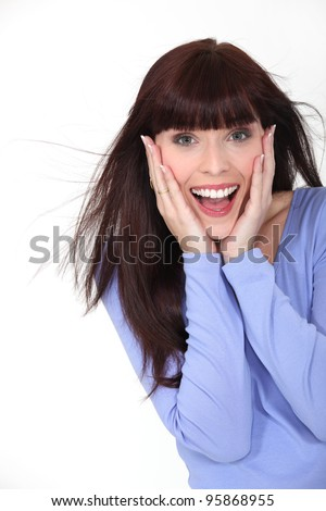 Excited brunette