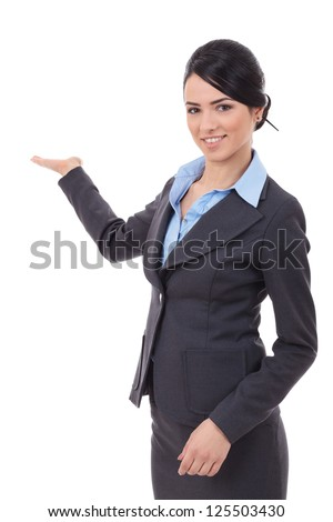 excited business  woman showing product isolated on white background