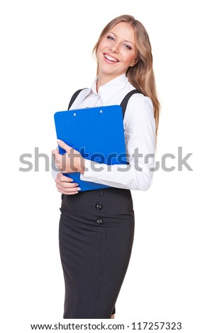 excited businesswoman holding writing pad and laughing. studio shot over white background