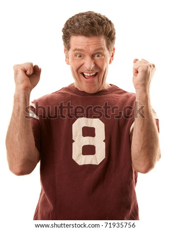 Excited Caucasian sports fan on white background