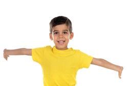 Excited child with yellow tshirt isolated on a white background