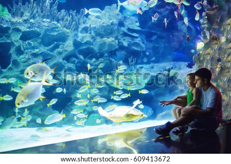 excited father and son watching the marine life in oceanarium #609413672