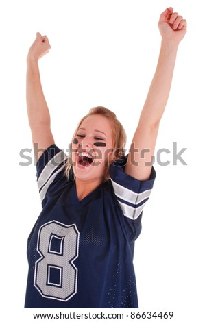 Excited football fan watching sport isolated on white background