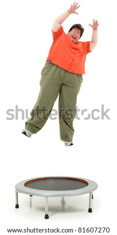 stock photo excited forties obese woman jumping on trampoline over white background 81607270 Clip 119345: Medium shot stock video of obese fat weight   HD 1920x1080, ...