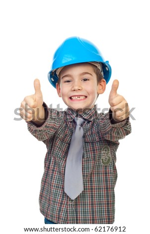 Excited future architect with toothless giving thumbs up with both hands isolated on white background