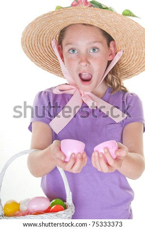 Excited girl with easter egg - stock photo