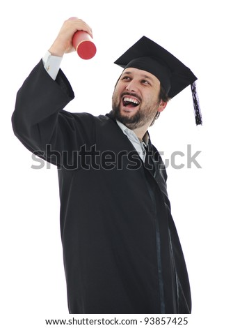 excited graduate student in gown