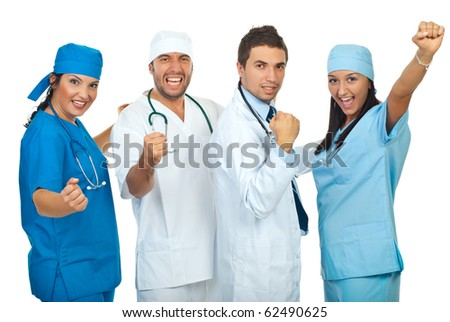 Excited group of doctors with achievements raising hands isolated on white background