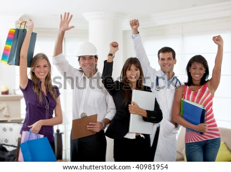Excited group of people with different professions indoors