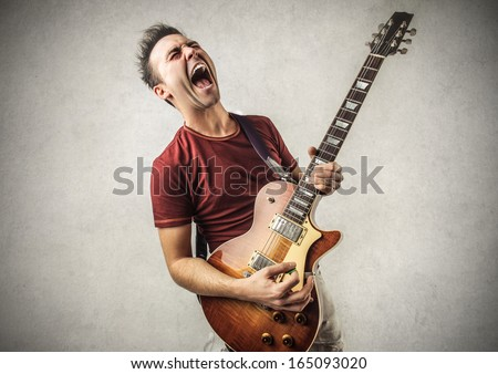 Excited Guitarist