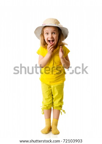 Excited Little Girl shouting clapping hands isolated on white