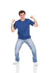 excited man isolated on white background