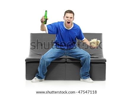 Excited man watching sport isolated on white background