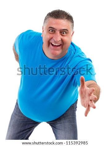 excited man with arm outstretched isolated on white