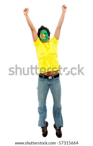 Excited man with the Brazilian flag painted on his face
