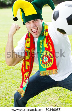 excited Portuguese soccer fan