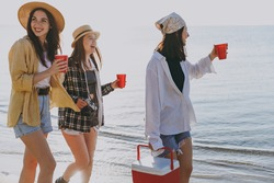 Excited smiling friends young women wear straw hat summer clothes hang out together carry food in picnic refrigerator cups walking go outdoor on sea beach background People vacation journey concept