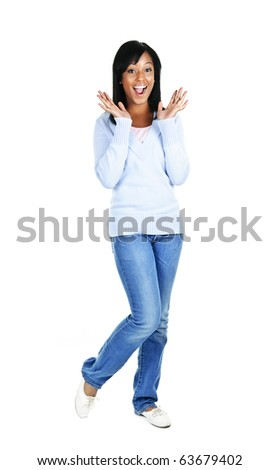Excited surprised black woman standing isolated on white background
