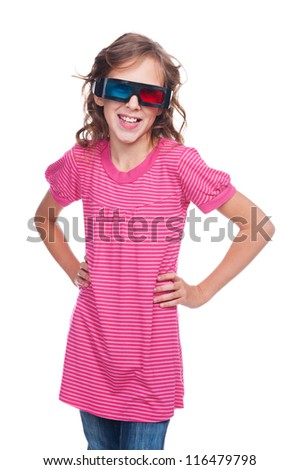 excited ten year girl in stereo glasses standing over white background