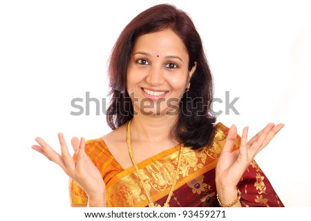 Excited traditonal Indian woman