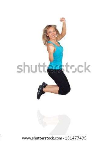 Excited Woman Jumping Isolated On White Background