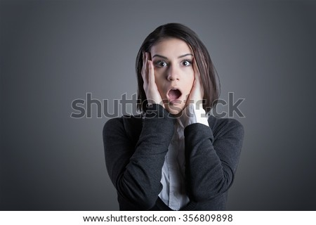 Excited woman looking surprised and amazed,speechless with mouth open.Young woman excited,overwhelmed,shocked, or terrified.Eureka moment concept.Shocked woman isolated on  background