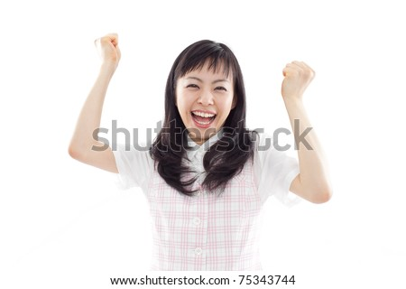 Excited young business woman isolated on white back ground