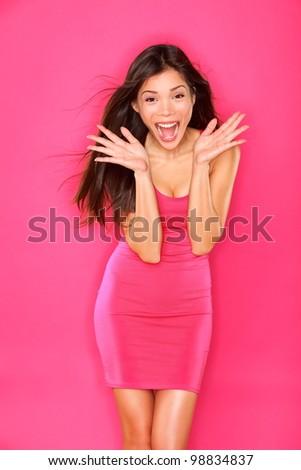 Pink background fashion woman shoot