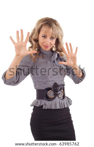 Excited young woman showing high ten fingers