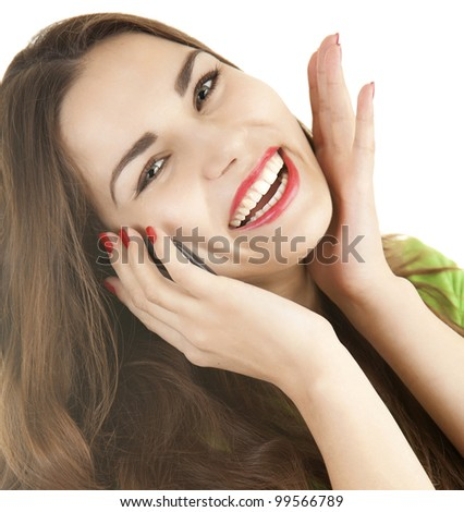 excited young woman with phone, white background