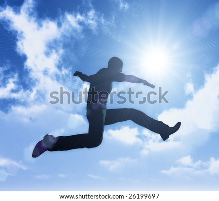 Excitement jumping on a bright sunny day