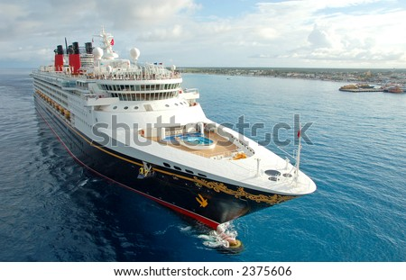 Exciting cruise vacation on board modern cruise ship. CLOSEUP and FRONT VIEW