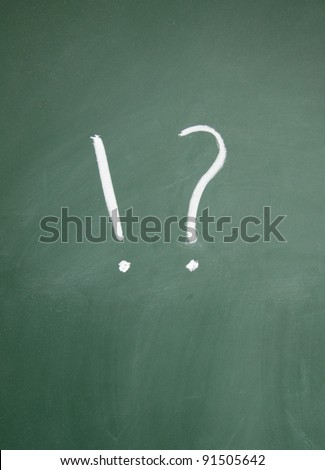 Exclamation mark and question mark title written with chalk on blackboard
