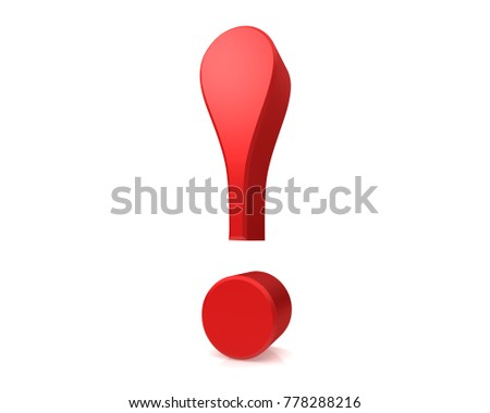 exclamation mark exclamation point 3d rendering red isolated on white