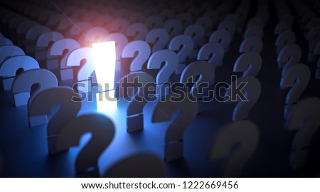 Exclamation mark.  Idea concept background. 3d illustration