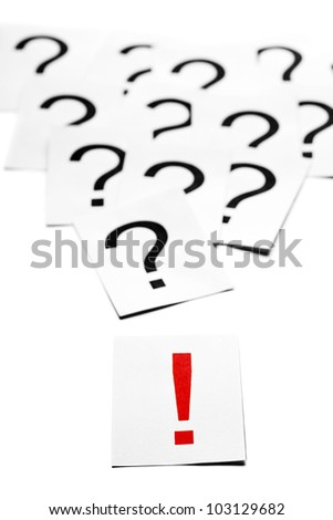 Exclamation mark in front of many question marks - solution concept
