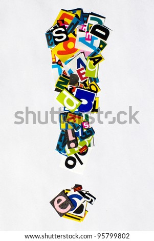 Exclamation Point made of Letters - stock photo