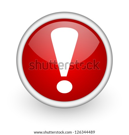 exclamation sign red circle web icon on white background