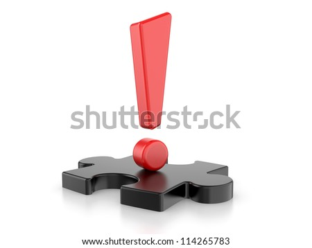 exclamation sign with puzzles. 3d image on a white background